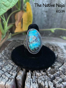 Navajo Men's Sterling Silver & Kingman Turquoise Ring Size 9 3/4 RG34