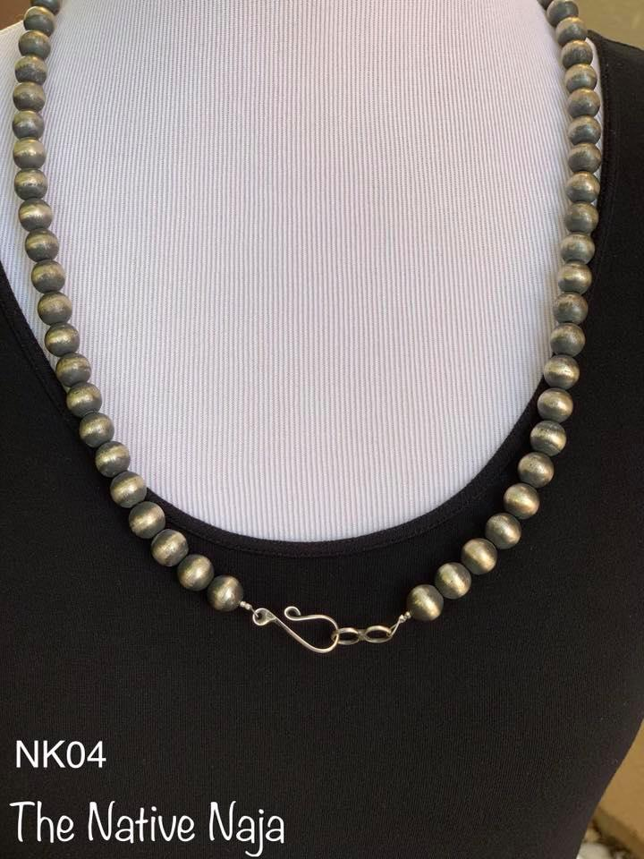 "28"" Sterling Silver Navajo Pearls Necklace NK04"