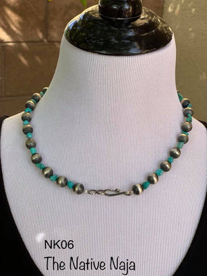 "19.5"" Genuine Turquoise & Sterling Silver Navajo Pearls Necklace NK06"