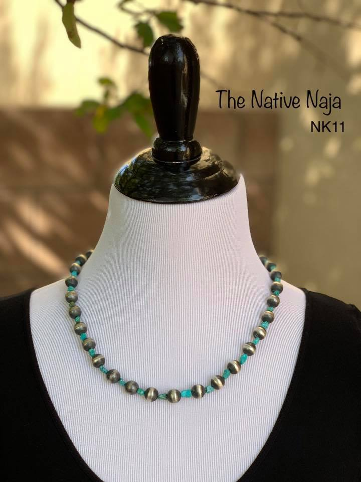"21"" Genuine Turquoise & Sterling Silver Navajo Pearls Necklace NK11"