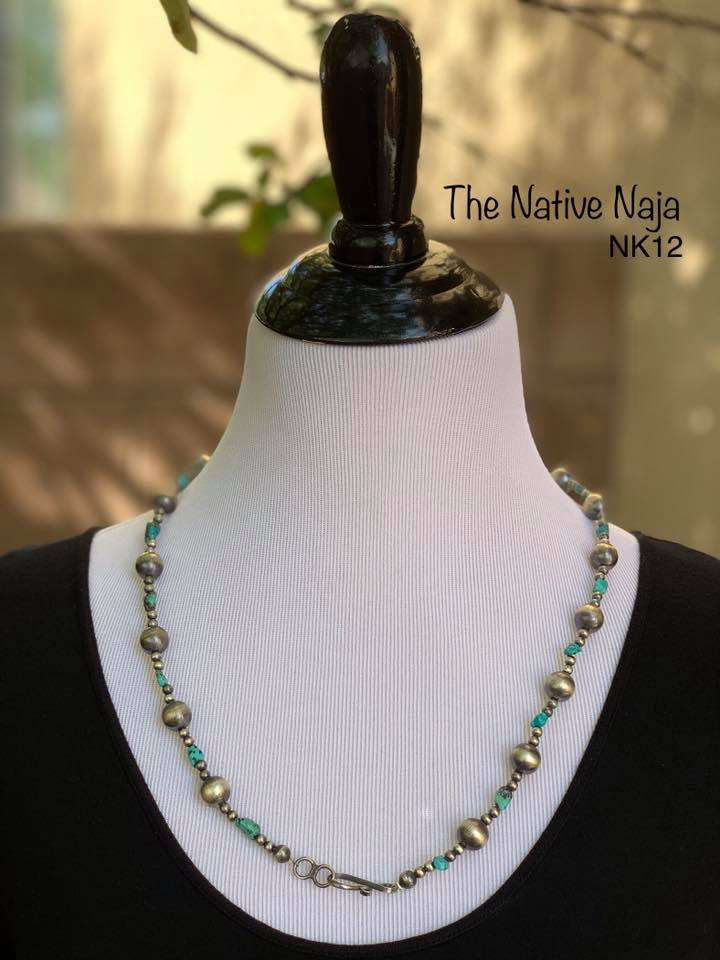 "25"" Genuine Turquoise & Sterling Silver Navajo Pearls Necklace NK12"