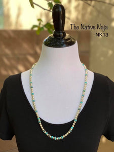"28"" Genuine Turquoise Heishi Beads & Polished Navajo Pearls Necklace NK13"