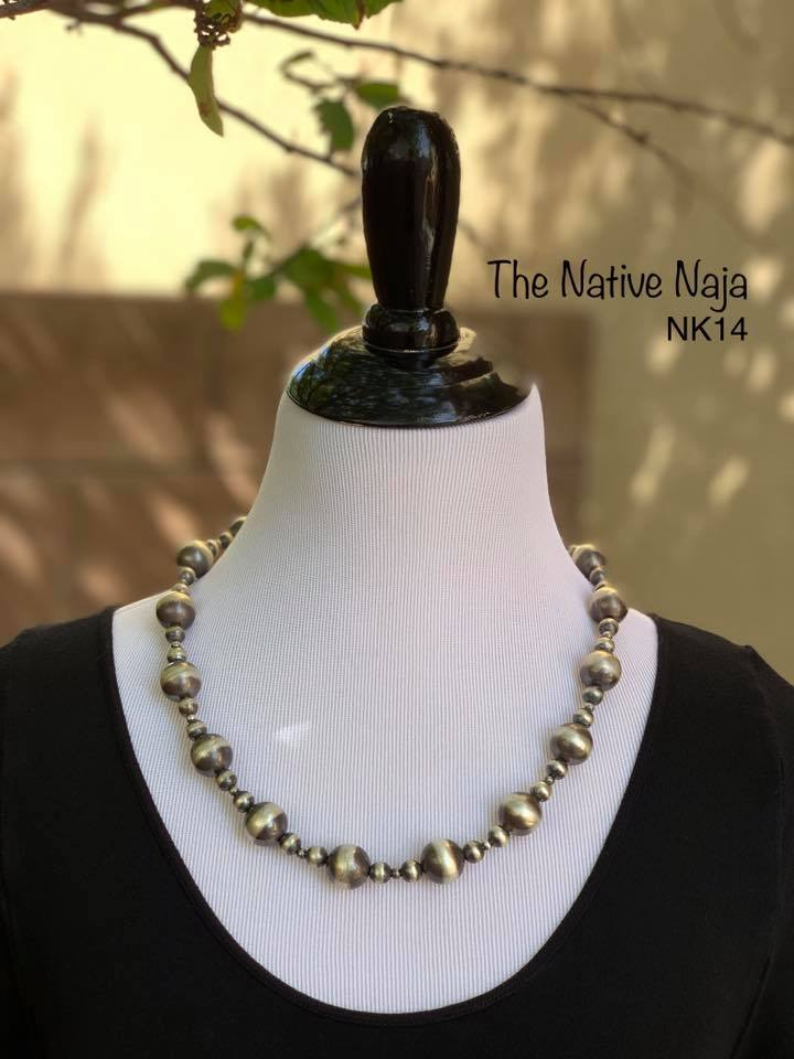 "23"" Sterling Silver Navajo Pearls Necklace NK14"