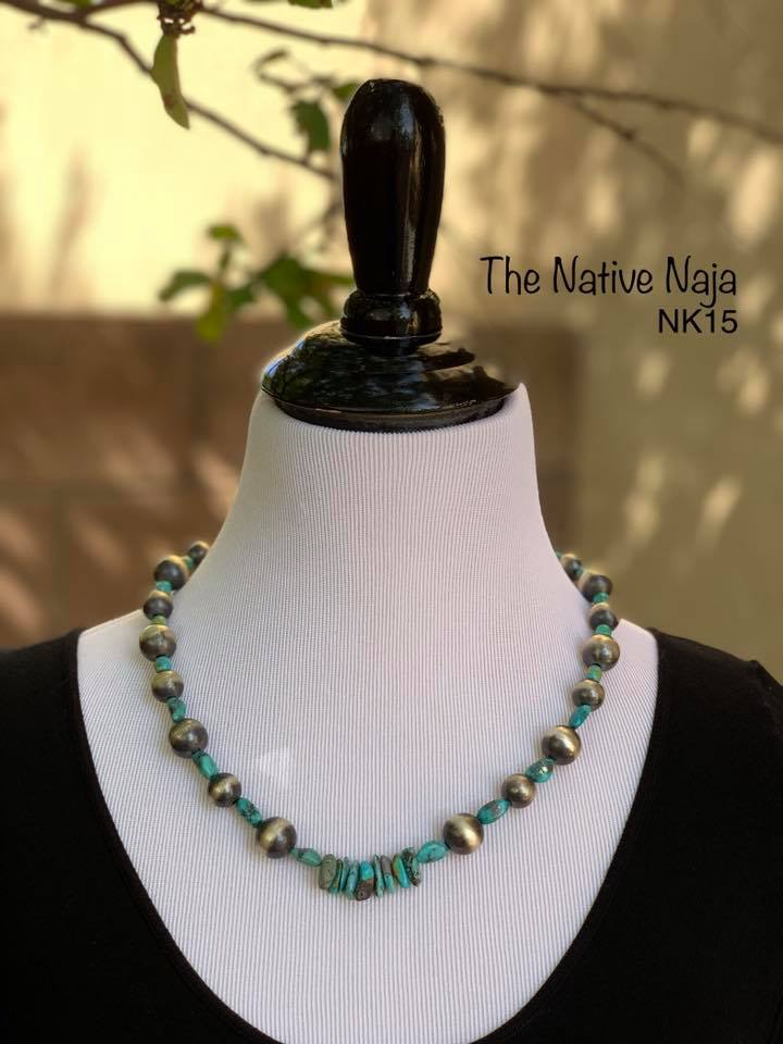 "22"" Genuine Kingman Turquoise & Sterling Silver Navajo Pearls Necklace NK15"