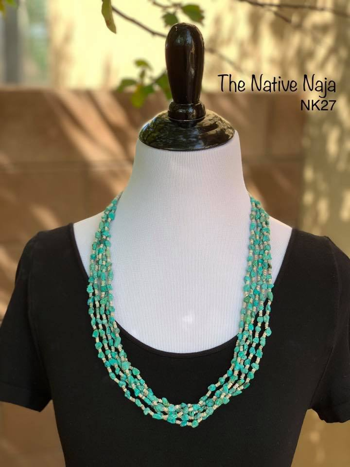 "Navajo 24"" 5 Strand Genuine Turquoise & Heishi Bead Necklace NK27"