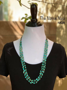 "Navajo 23.5"" 3 Stand of Genuine Turquoise & HeIshi Bead Necklace NK28"