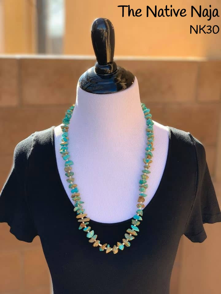 "28"" Navajo Genuine Kingman Turquoise w Heishi Beads & Sterling Silver Clasp Necklace NK30"