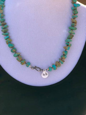 "23.5"" Navajo Genuine Kingman Turquoise w Heishi Beads & Sterling Silver Clasp Necklace NK31"
