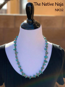"25.5"" Genuine Kingman Turquoise & Sterling Silver Navajo Pearls Necklace NK32"