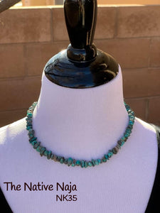 "17.5""  Navajo Genuine Green &  Blue Kingman Turquoise Necklace NK35"