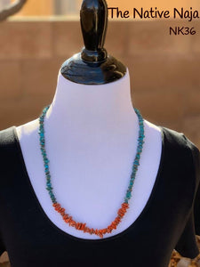 "24.5""  Navajo Genuine Kingman Turquoise & Coral Necklace NK36"