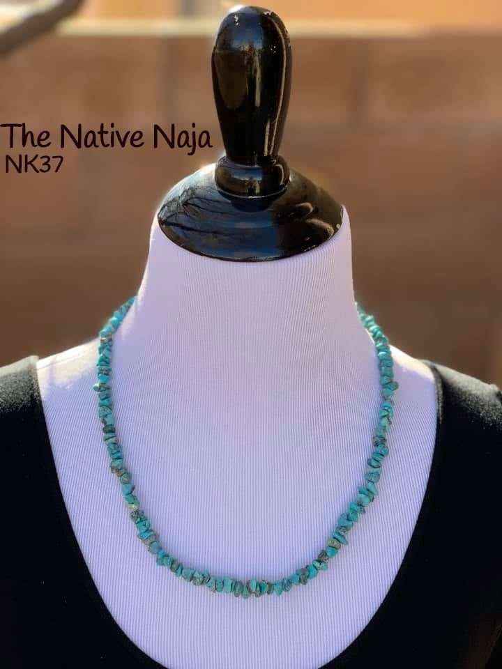 "23""  Navajo Genuine Campitos Turquoise & Sterling Silver Necklace NK37"