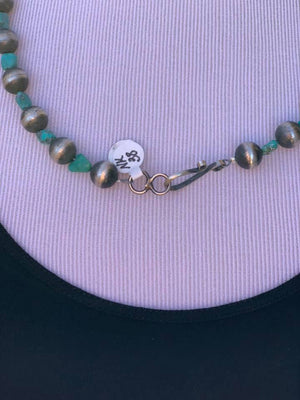 "23""  Navajo Genuine Kingman Turquoise & Sterling Silver Navajo Pearl Necklace NK38"