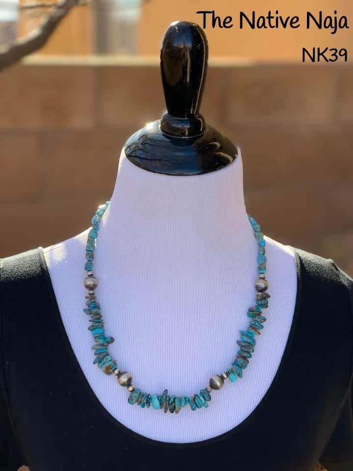 "23.5""  Navajo Genuine Kingman Turquoise & Sterling Silver Navajo Pearl Necklace NK39"