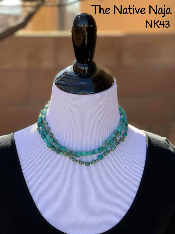 "17.5"" 3 Strand of Genuine Kingman Turquoise & Smaller Sterling Silver Navajo Pearls Necklace NK43"