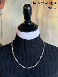 "Dainty 21"" Genuine Oxidized Sterling Silver Navajo Pearls & Corrugated Pearls Necklace NK56"