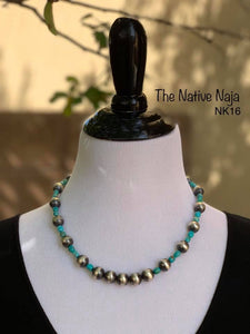 "20"" Genuine Turquoise & Sterling Silver Navajo Pearls Necklace NK16"