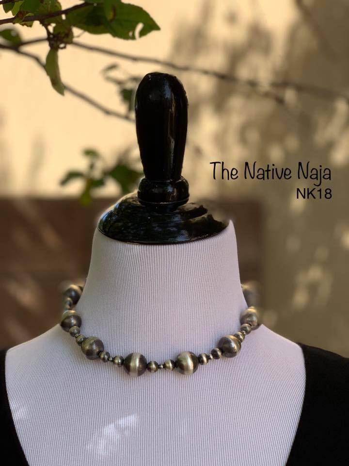 "16.5"" Sterling Silver Choker Navajo Pearls Necklace NK18"