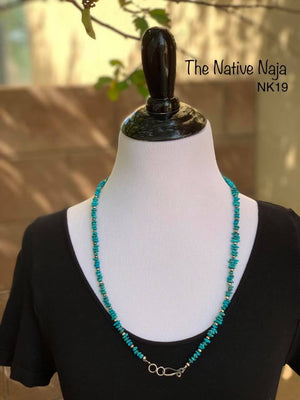 "28"" Genuine Turquoise & Smaller Sterling Silver Navajo Pearls Necklace NK19"