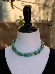 "18.5"" 3 Strand of Genuine Kingman Turquoise & Smaller Sterling Silver Navajo Pearls Necklace NK20"