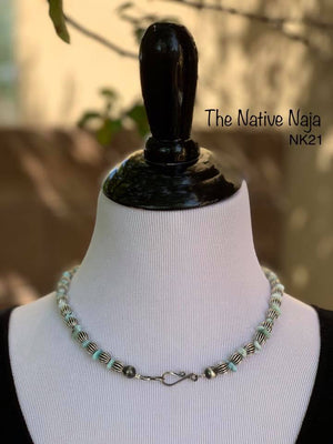 "Navajo 19"" Genuine Larimar Turquoise & Sterling Silver Corrugated Bead Necklace NK21"