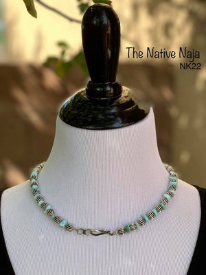 "Navajo 19"" Genuine Larimar Turquoise & Sterling Silver Corrugated Bead Necklace NK22"