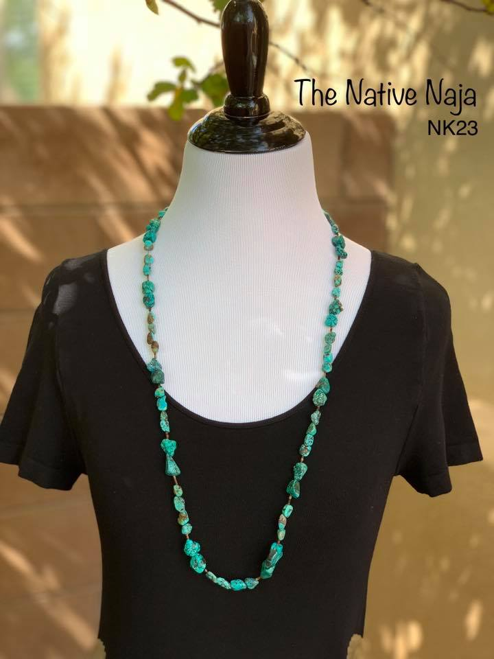 "34"" Genuine Kingman Turquoise & Heishi Beads & Sterling Silver Necklace NK23"