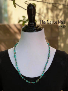 "25"" Genuine Turquoise w Heishi Beads & Sterling Silver Navajo Pearls Necklace NK25"
