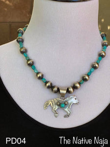 Navajo Sterling Silver & Turquoise Horse Pendant PD04