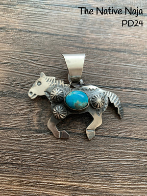 Navajo Genuine Kingman Turquoise & Sterling Silver Horse Pendant PD24