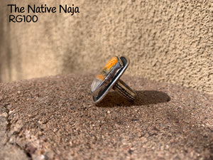 Navajo Square Genuine Bumblebee & Sterling Silver Ring Size 7 1/4 RG100