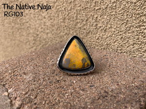 Genuine Navajo Triangle Bumblebee Jasper & Sterling Silver Ring Size 6 1/2 RG103