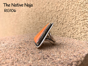 Navajo Genuine Sterling Silver & Orange Spiny Oyster Triangle Ring Size 6 1/4 RG106