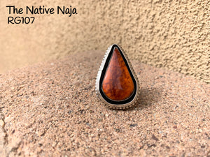 Navajo Genuine Sterling Silver & Orange Spiny Oyster Teardrop Ring Size 6 1/4 RG107