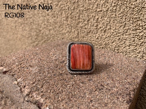 Large Navajo Genuine Sterling Silver & Orange Spiny Oyster Square Ring Size 7 3/4 RG108