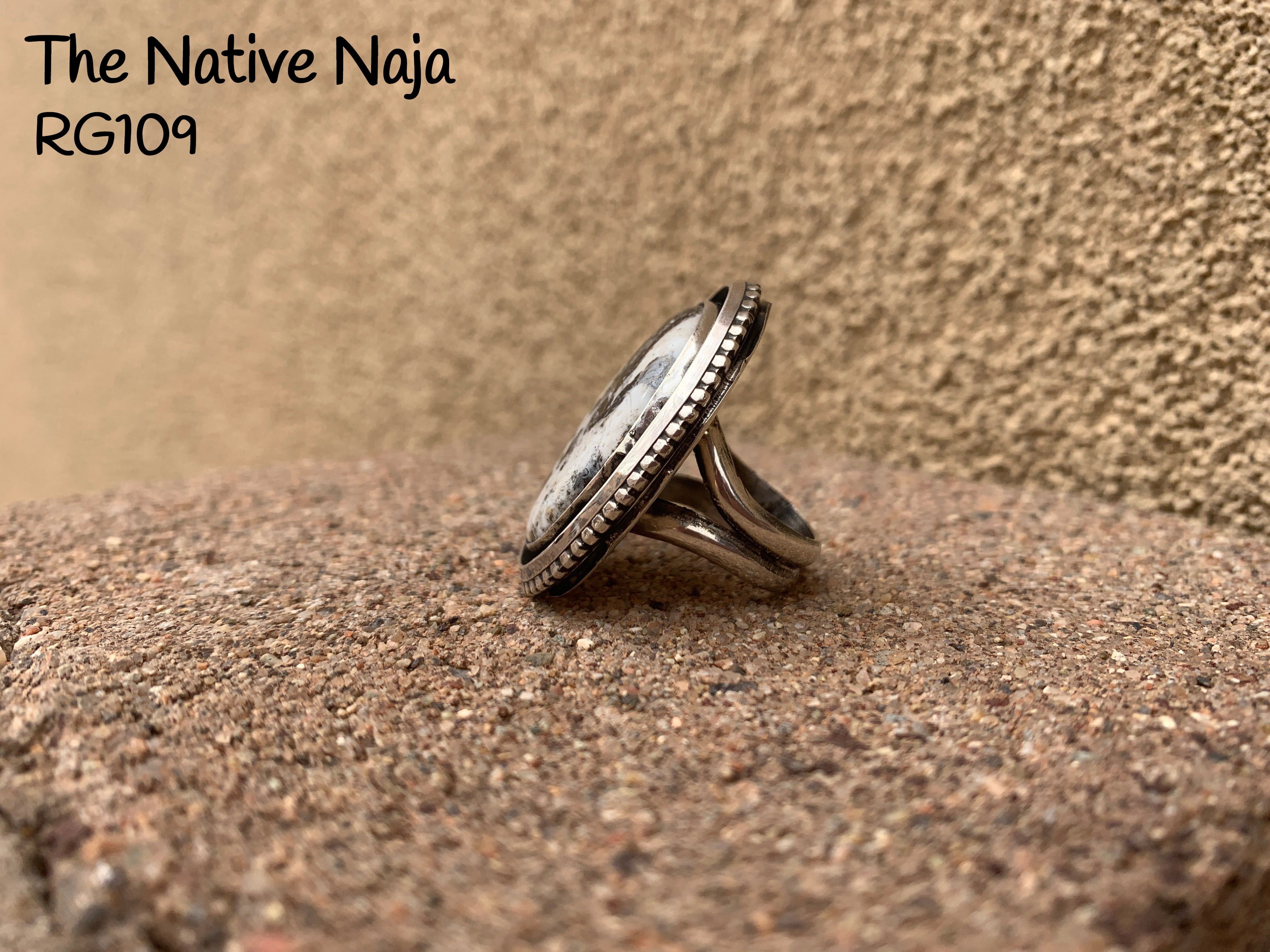 Large Navajo Genuine Sterling Silver & White Buffalo Oval Ring Size 6 3/4 RG109