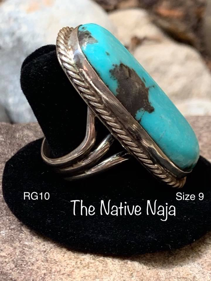 Genuine Navajo Braided Sterling Silver & Kingman Turquoise Ring Size 9 RG10