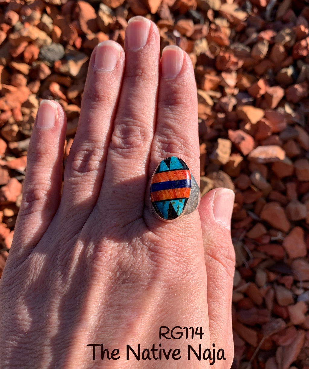 Mens Navajo Genuine Sterling Silver & Multi Stone Inlay Oval Ring Size 9 RG114