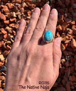 Mens Navajo Genuine Sterling Silver & Kingman Turquoise Oval Ring Size 9 RG115
