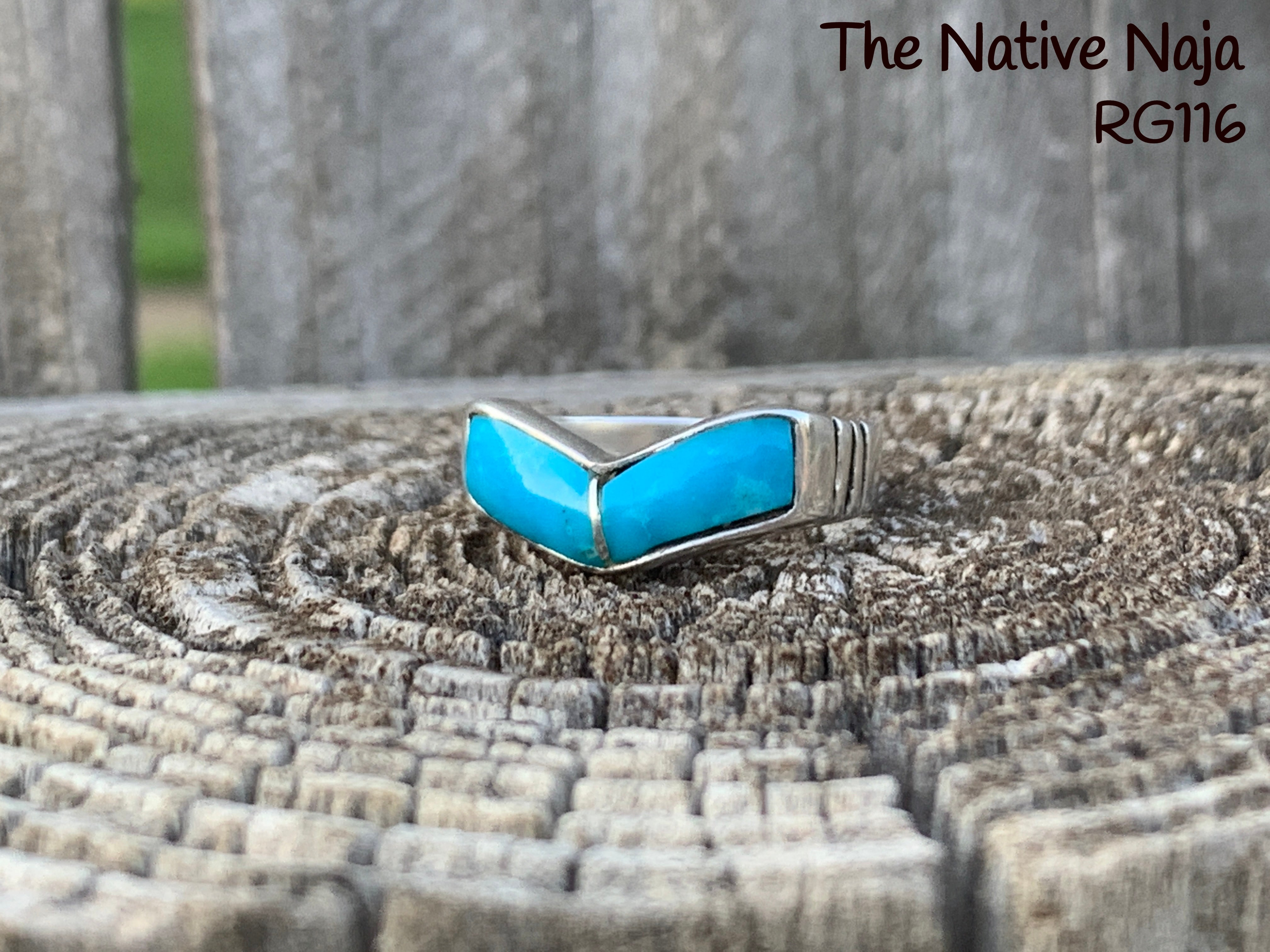 Genuine Zuni Turquoise Inlay & Sterling Silver Stackable Band Ring Size 6 3/4 RG116