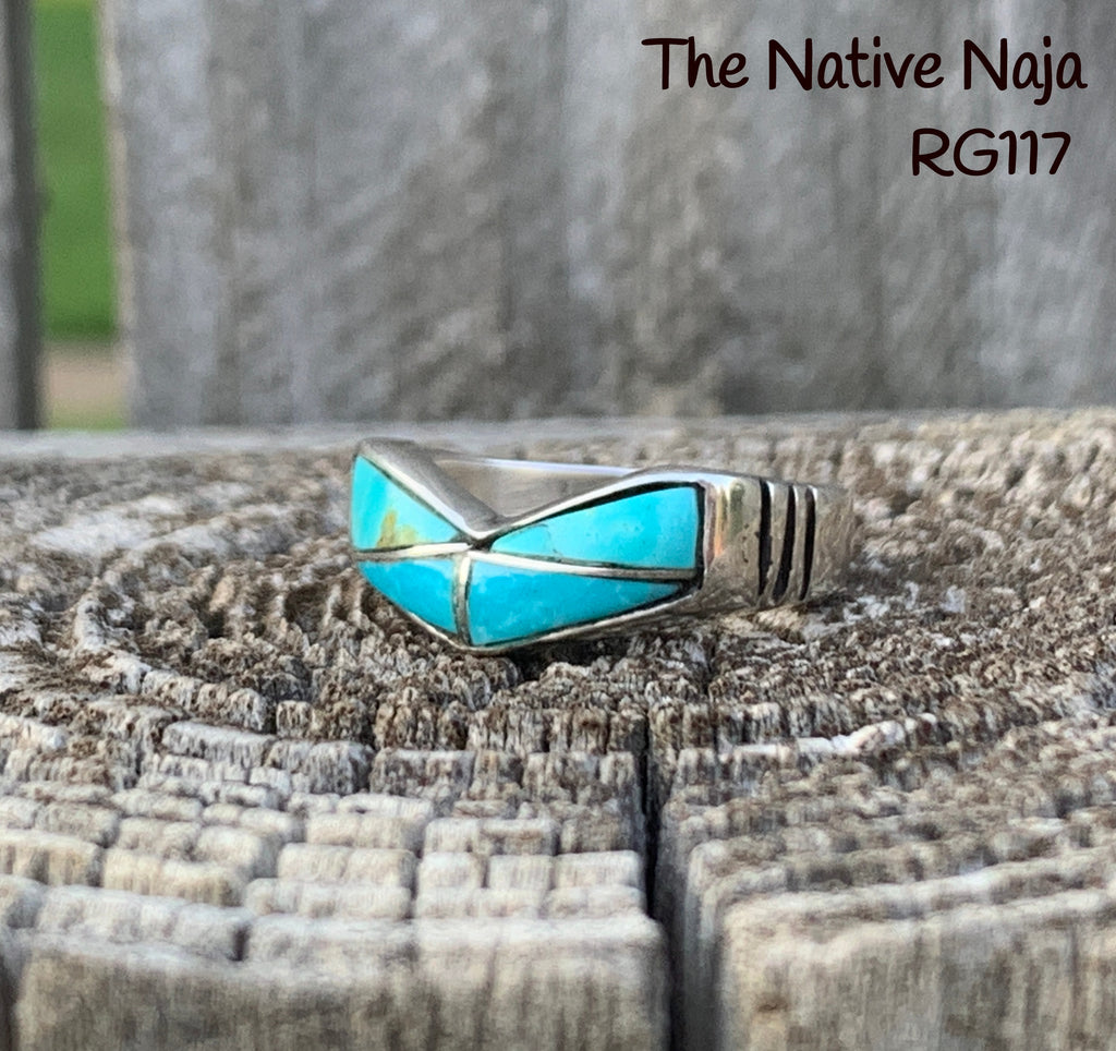 Genuine Zuni Turquoise Inlay & Sterling Silver Stackable Band Ring Size 6 1/2 RG117