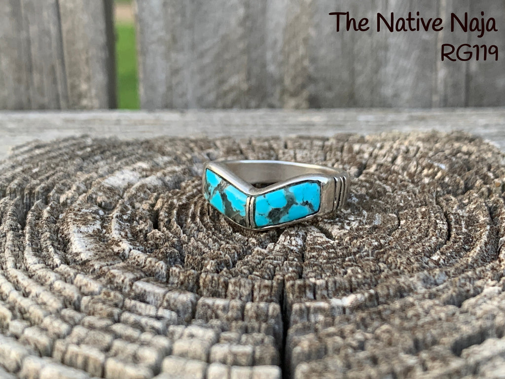 Genuine Zuni Turquoise Inlay &  Sterling Silver Stackable Band Ring Size 6 3/4 RG119
