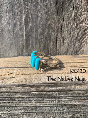 Zuni Genuine Sterling Silver &  Petit Point Turquoise Band Ring RG120