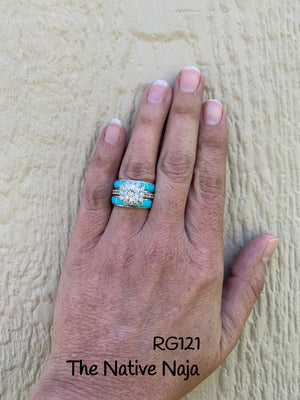 Zuni Dainty Genunie Sterling Silver & Turquoise Inlay Stackable Band Ring RG121