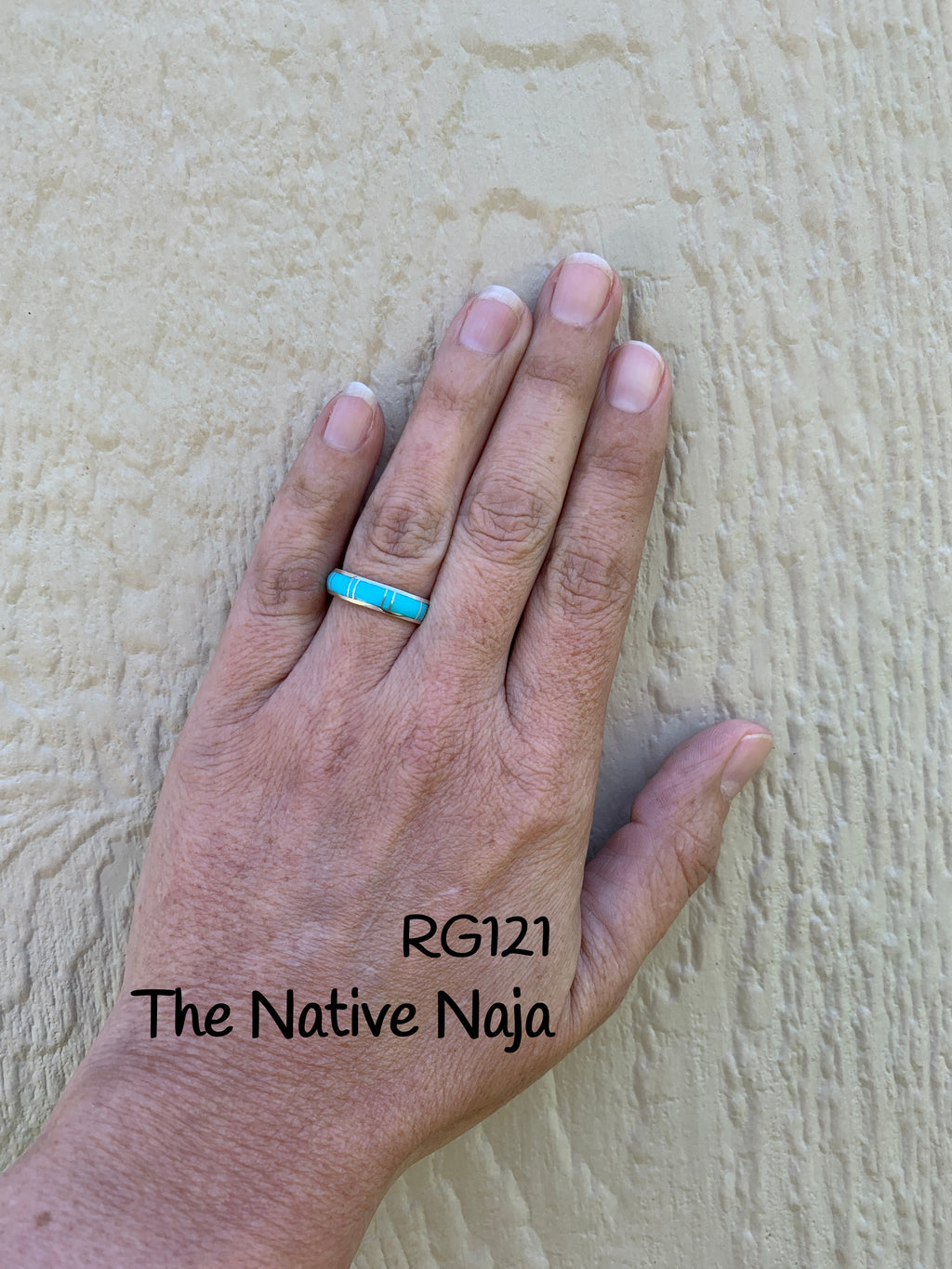 Dainty Zuni Inlay Sterling Silver & Genuine Turquoise Stackable Band Ring RG121