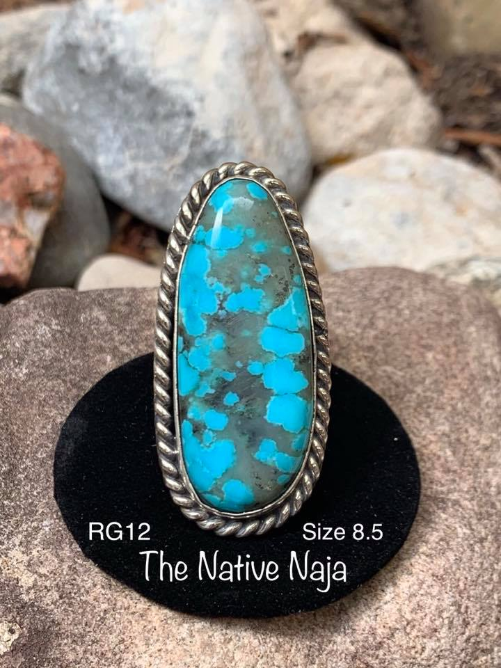 Genuine Navajo Sterling Silver & Kingman Turquoise Ring Size 8 1/2 RG12