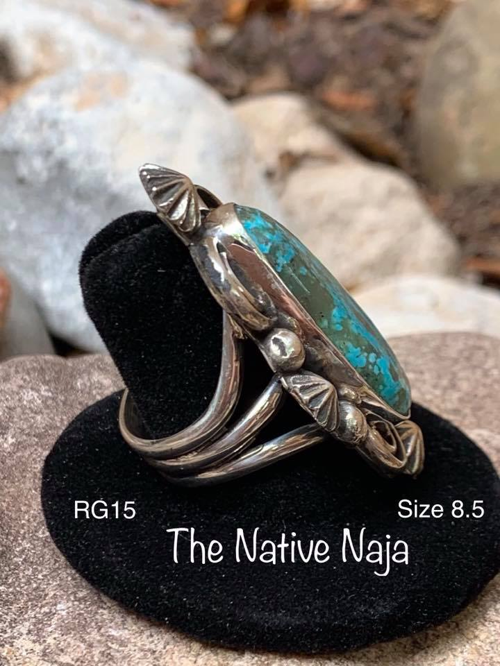 Navajo Sterling Silver & Kingman Turquoise Ring Size 8.5 RG15