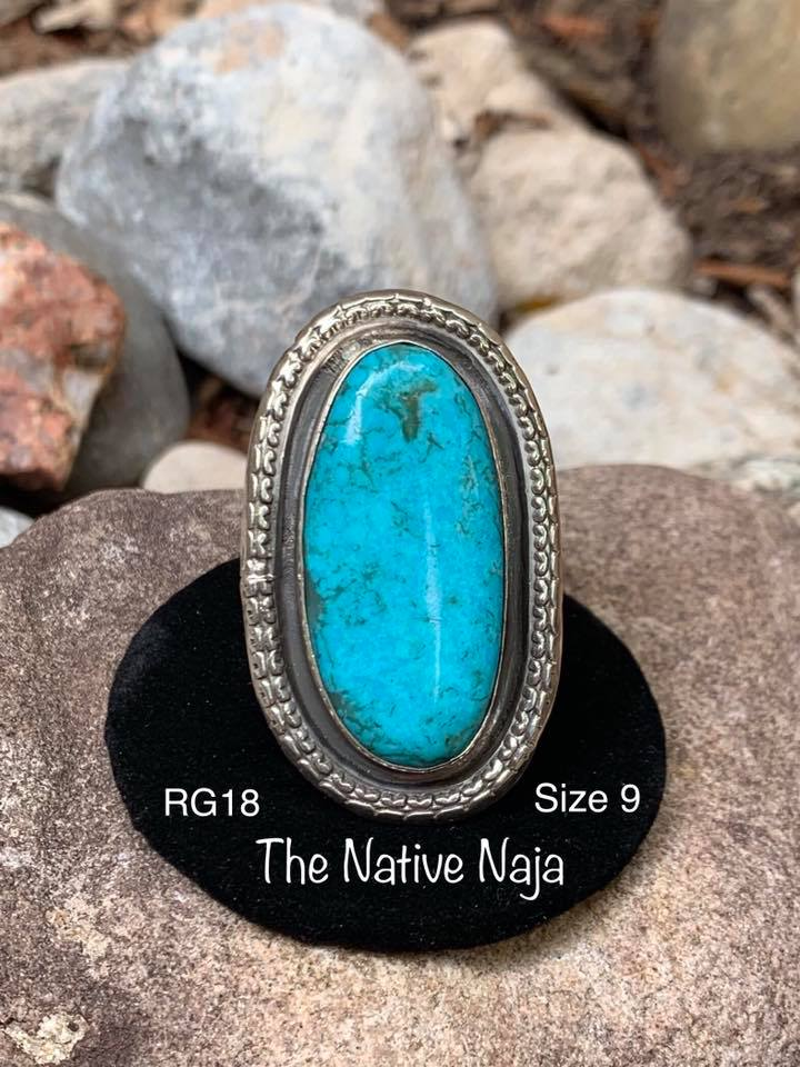 Genuine Navajo Sterling Silver & Kingman Turquoise Ring Size 9 RG18