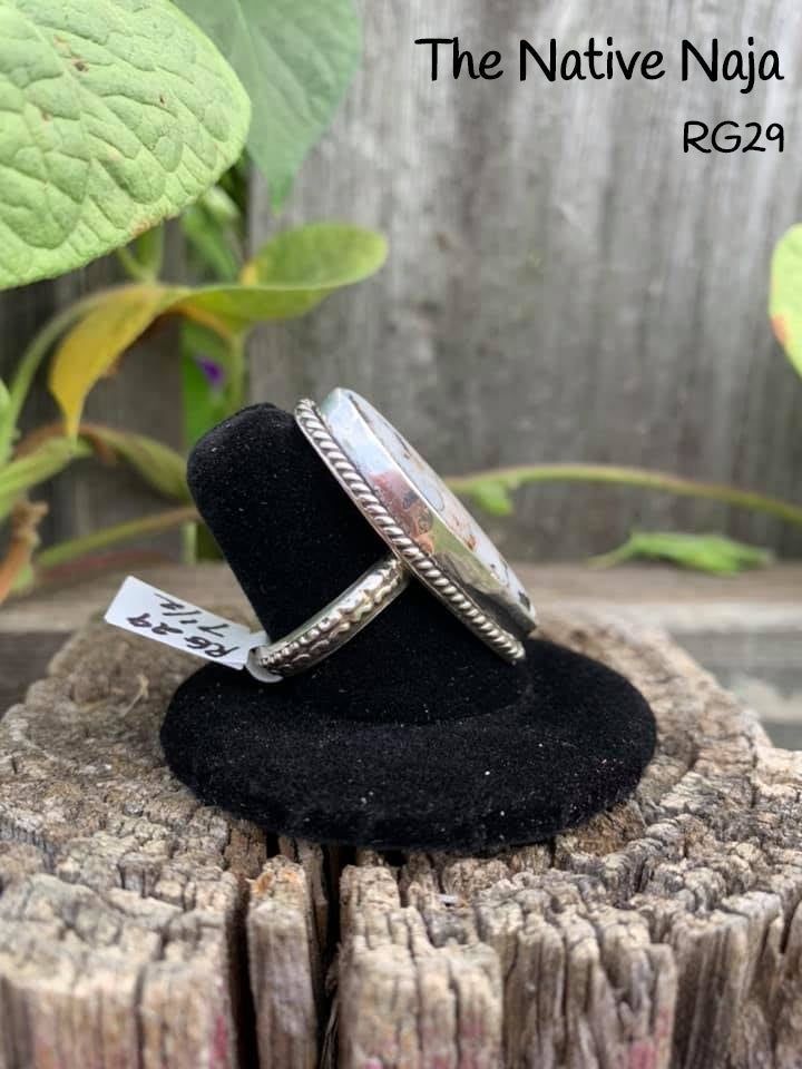 Navajo Sterling Silver & White Buffalo Turquoise Ring Size 7 1/2 RG29