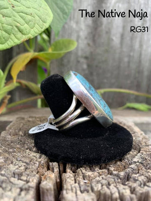 Navajo Sterling Silver & Kingman Turquoise Ring Size 8 3/4 RG31